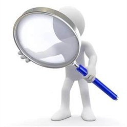 Magnifying glass man for scrutiny